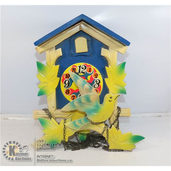 BLUE WOODEN COO COO CLOCK GERMAN MADE