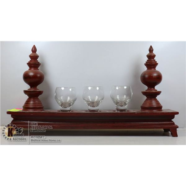 ASIAN WOODEN STAND WITH 3 GLASSES