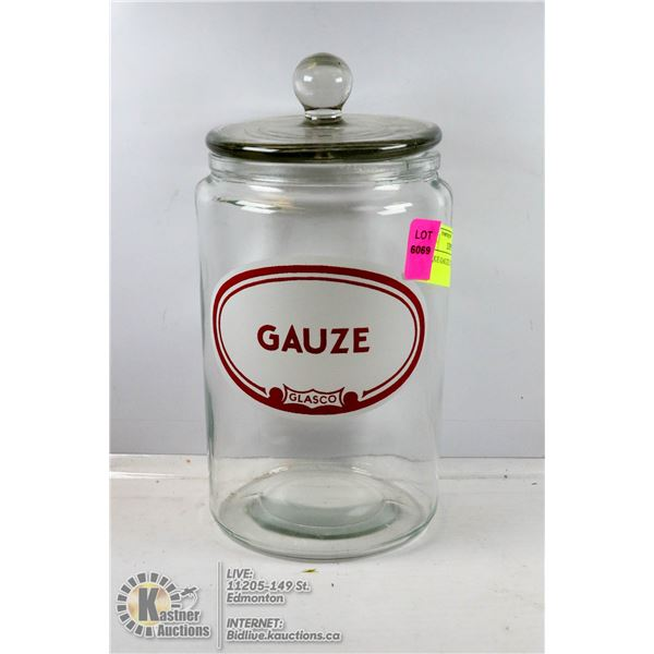 ANTIQUE GAUZE CONTAINER WITH LID