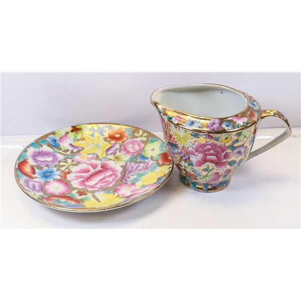 HAND PAINTED CREAMER WITH DISH FIFTH AVENUE