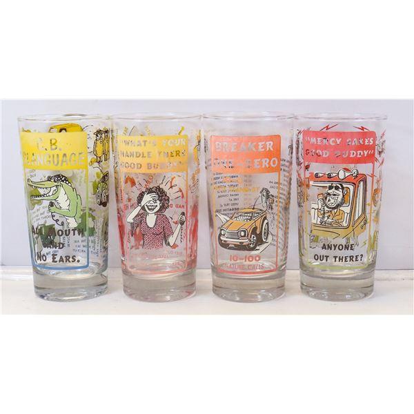 SET OF FOUR BEATNIK THEMED TUMBLER GLASSES