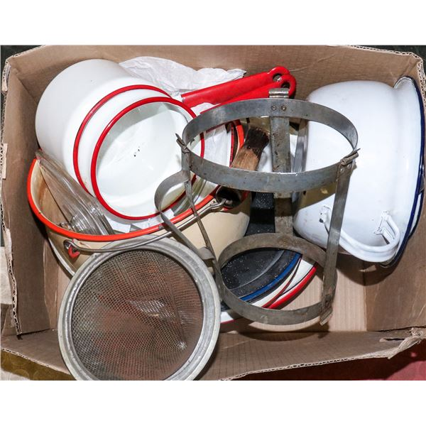 BOX WITH VINTAGE ENAMEL COOKWARE AND MORE