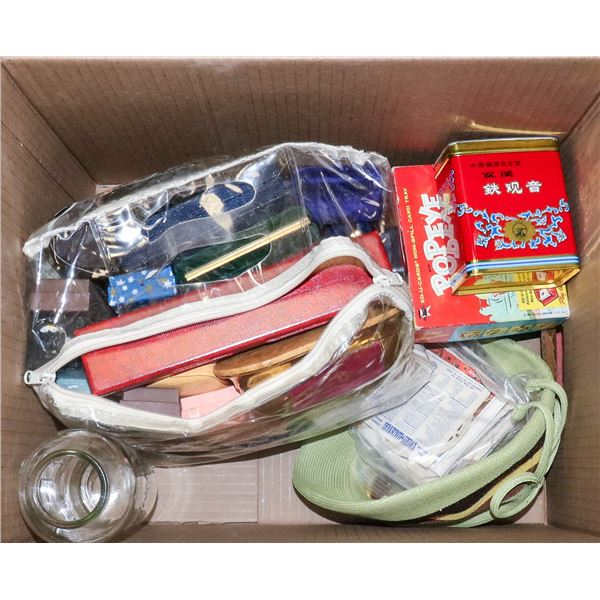 BOX WITH ASSORTED JEWELRY CASES AND OTHER VINTAGE