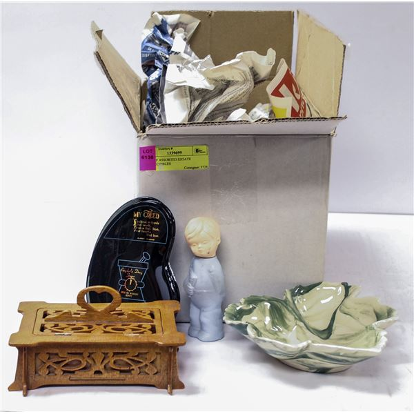 BOX OF ASSORTED ESTATE COLLECTIBLES