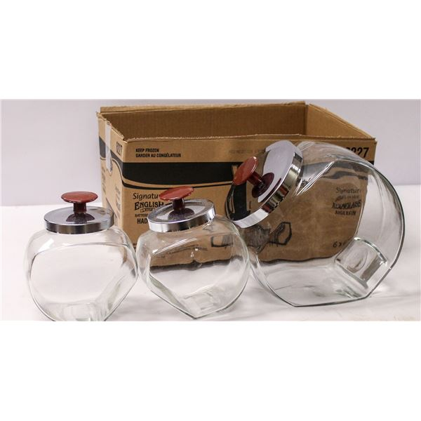 GLASS COUNTER JARS WITH LIDS