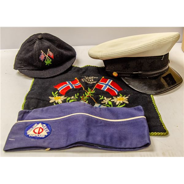 BOX OF ASSORTED VINTAGE CLOTHING AND HATS 1930S