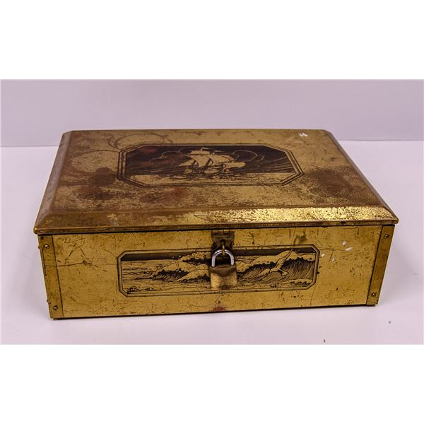 BRASS TONE VELVET LINED BOX WITH SHIP DECAL