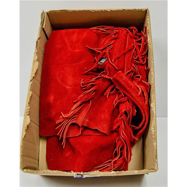 RED SUEDE LEATHER CHAPS SIZE 36-38