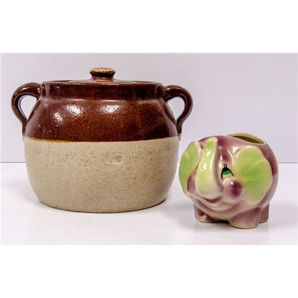 ANTIQUE CROCK WITH LID AND ELEPHANT ORNAMENT