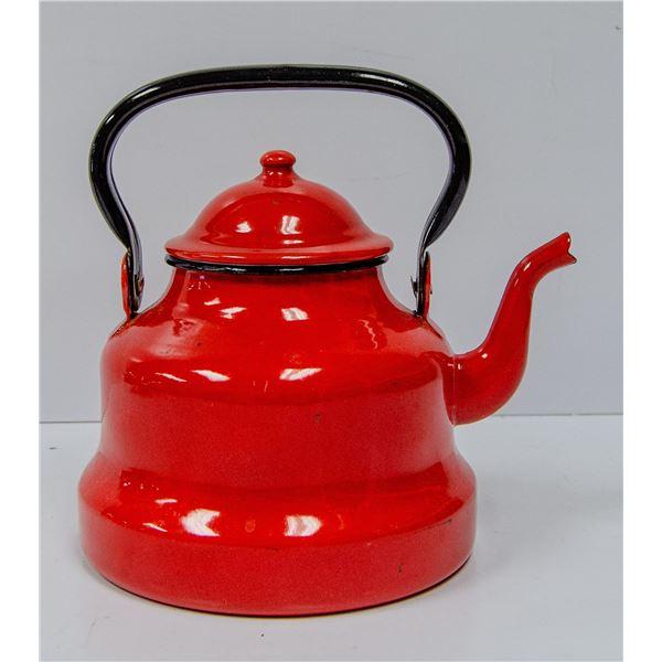 RED ENAMEL TEA POT