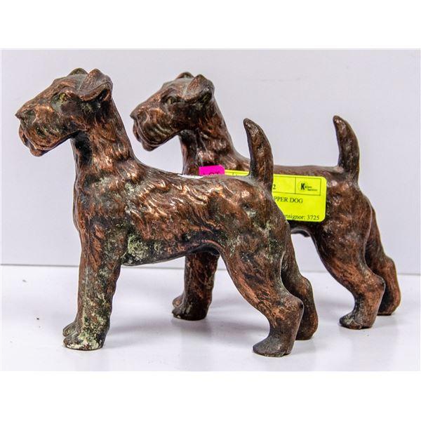 PAIR OF ANTIQUE COPPER DOG ORNAMENTS