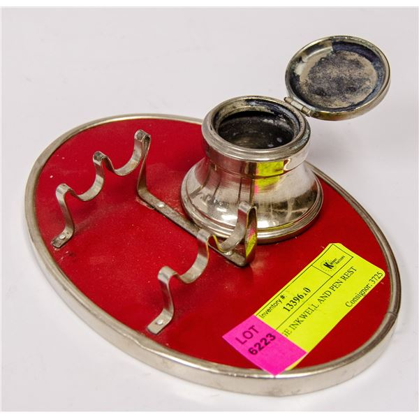 VINTAGE INKWELL AND PEN REST SET
