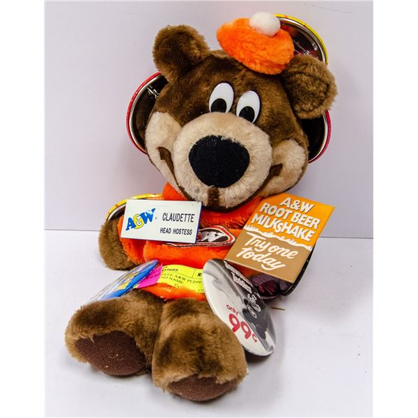 VINTAGE EMPLOYEE A&W PUPPET WITH BADGES AND NAME