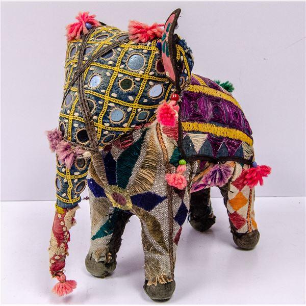 VINTAGE INDIAN MADE CLOTH ELEPHANT ORNATE