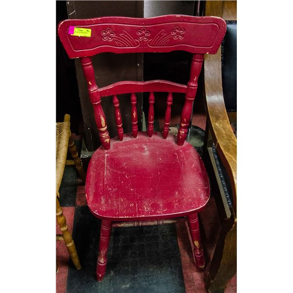 ANTIQUE RED WOODEN DINING CHAIR