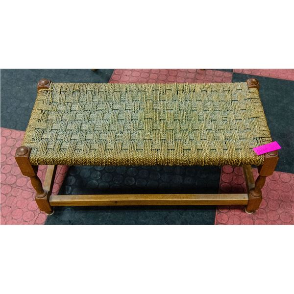 WOVEN ROPE RATTAN BENCH, 25 X 11 X 12