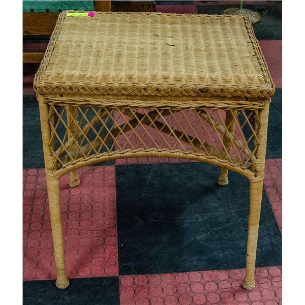 VINTAGE WICKER SIDE TABLE, 20 X 16 X 24