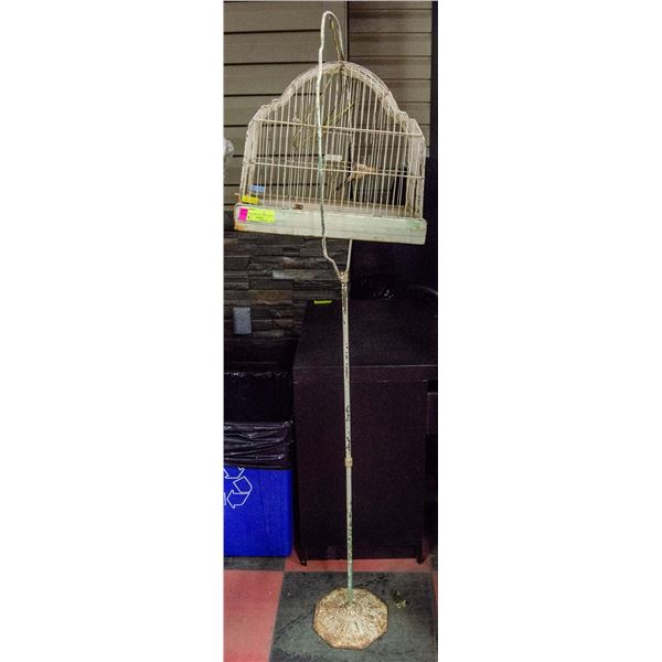 ANTIQUE BIRD CAGE WITH STAND, NO BOTTOM