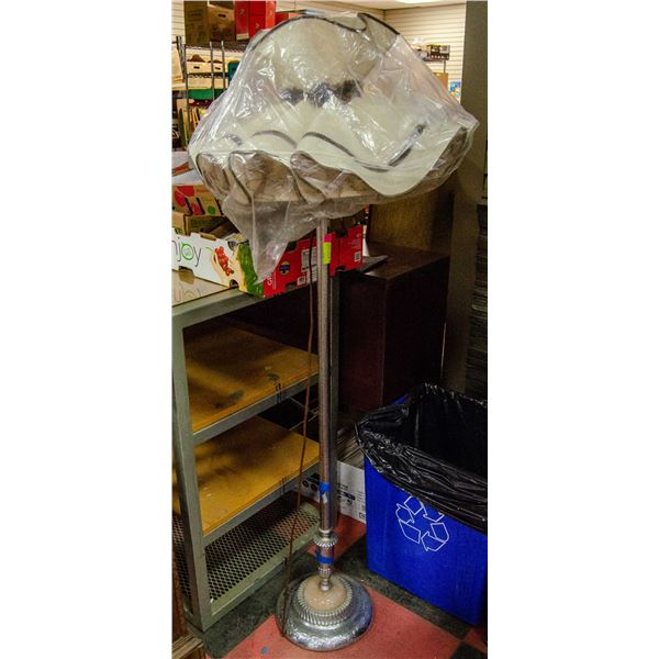 ANTIQUE CHROME FLOOR LAMP WITH SHADE