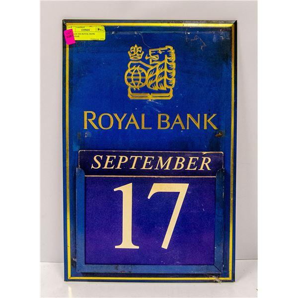 VINTAGE TIN ROYAL BANK CALENDAR