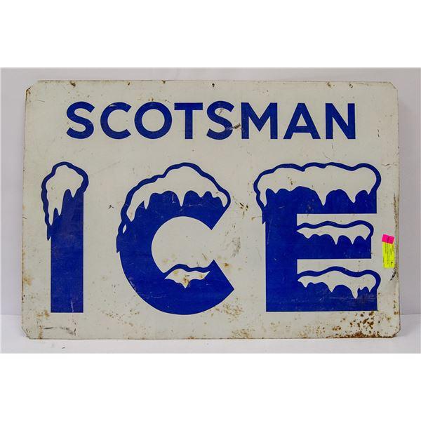 VINTAGE SCOTTSMAN ICE METAL SIGN ADVERTISING
