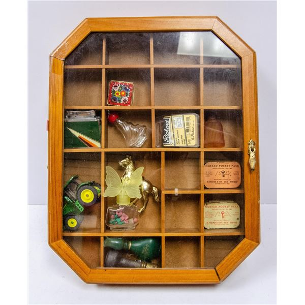 CASE OF ASSORTED COLLECTIBLES AND LEATHER BEAR
