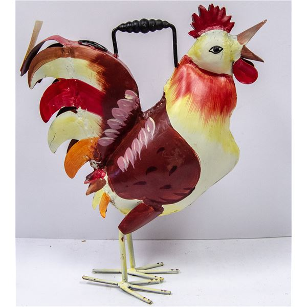 PRESSED METAL ROOSTER WATERING CAN DECORATIVE