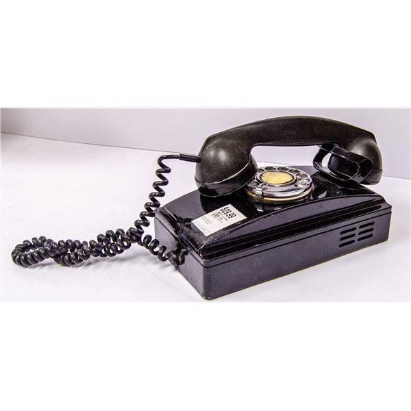 ANTIQUE BLACK BAKELITE WALL PHONE