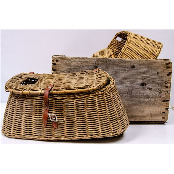 WIOD CRATE WITH TWO ANTIQUE FISHING BASKETS