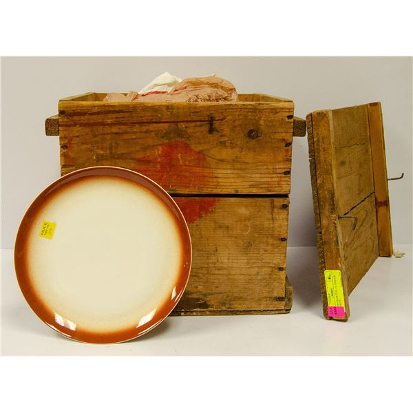 WOOOD CRATE FULL OF VINTAGE DISHES & MORE