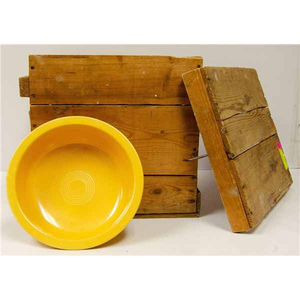 WOOD CRATE FULL OF PYREX AND FIESTA WARE