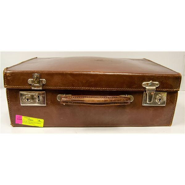SMALL COWHIDE SUITCASE WITH VARIOUS COLLECTIBLES