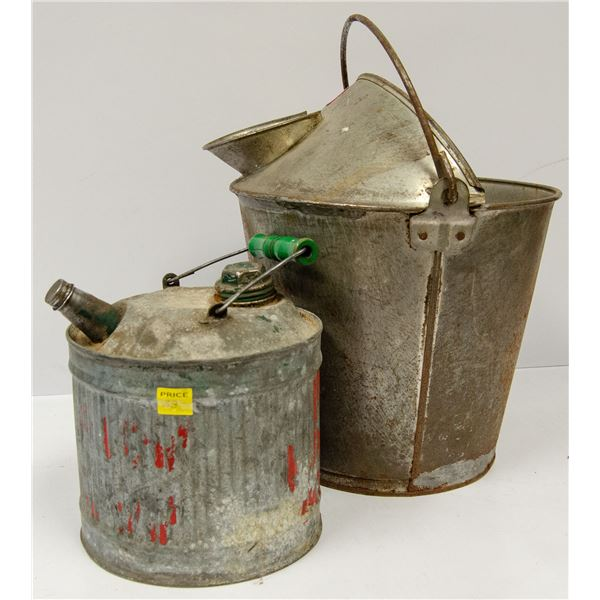 ANTIQUE MILK PAIL AND OTHER COLLECTIBLES