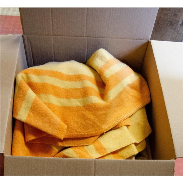 BOX WITH VINTAGE CHENILLE AND WOOL BLANKETS