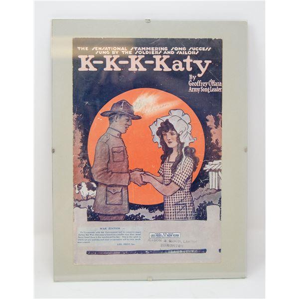 """ANTIQUE ORIGINALLY FRAMED """"KATY"""" MUSIC SHEET"""