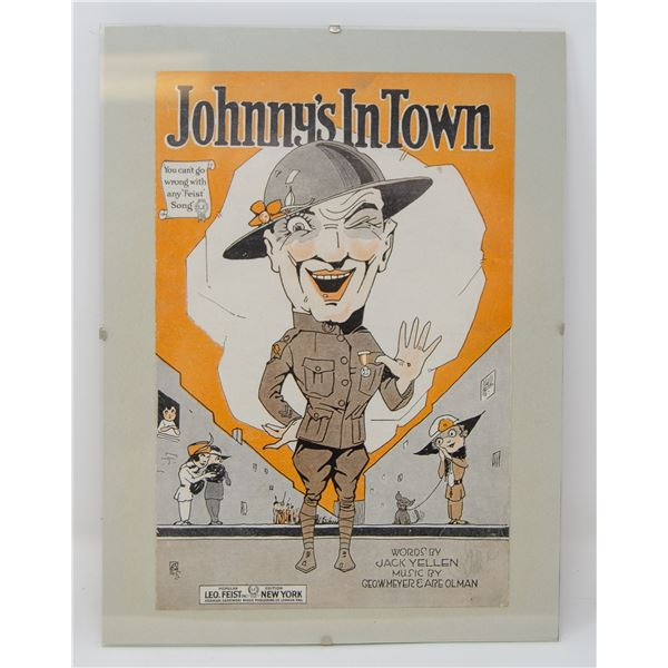 "ANTIQUE ORIGINALLY FRAMED ""JOHNNY'S IN TOWN"""