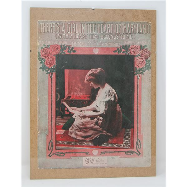 """ANTIQUE ORIGINALLY FRAMED """"THERE'S A GIRL IN THE"""