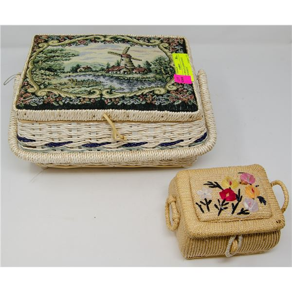 PAIR OF EMBROIDERED WICKER BASKETS