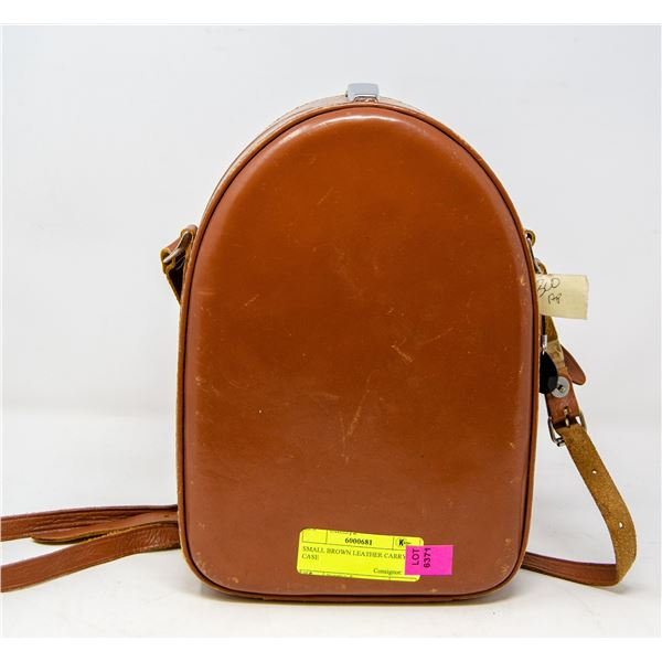 SMALL BROWN LEATHER CARRY CASE