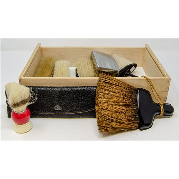 CASE OF ANTIQUE GROOMING COLLECTIBLES