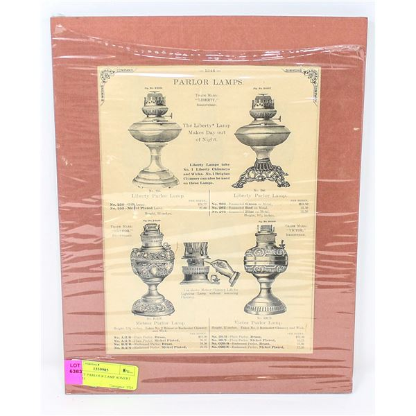 ANTIQUE PARLOUR LAMP ADVERT MATTED
