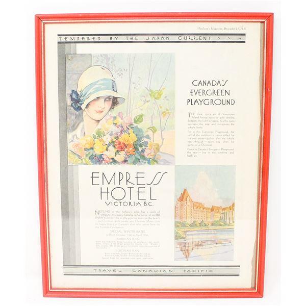 1930 EMPRESS HOTEL ADVERTISING FRAMED