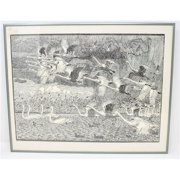 VINTAGE LITHO OF CANADIAN GEESE IN FLIGHT