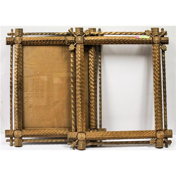 PAIR OF ANTIQUE TRAMP ART CARVED PICTURE FRAMES