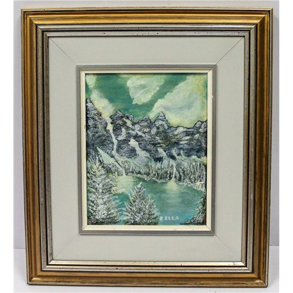 OIL ON BOARD PAINTING OF MOUNTAINS FRAMED