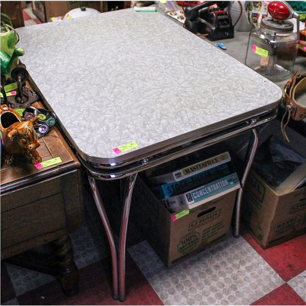 1950S KITCHEN TABLE FORMICA AND CHROME