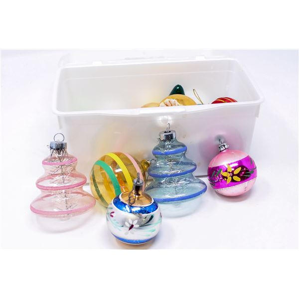 BIN OF ASSORTED GLASS CHRISTMAS ORNAMENTS