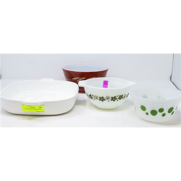 LOT OF ASSORTED PYREX BOWLS
