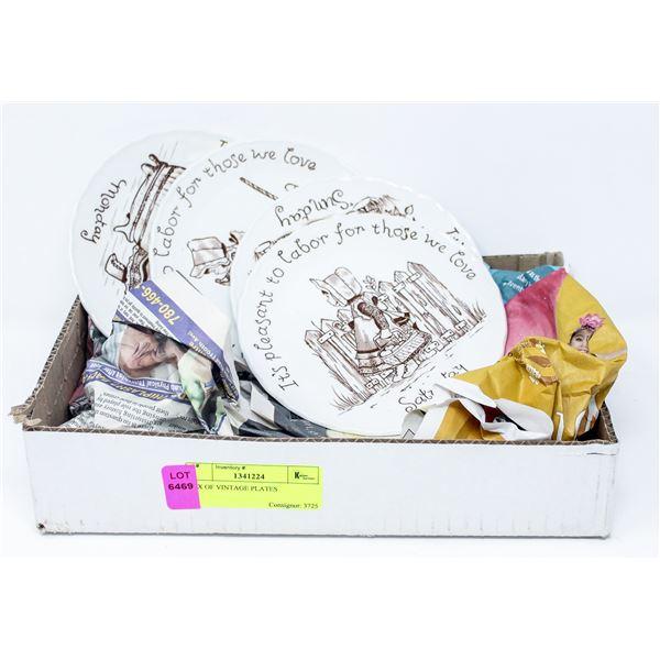 BOX OF VINTAGE PLATES