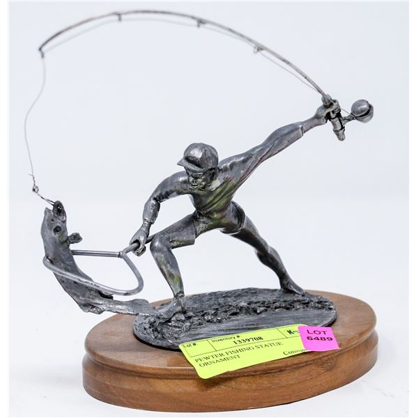 PEWTER FISHING STATUE ORNAMENT
